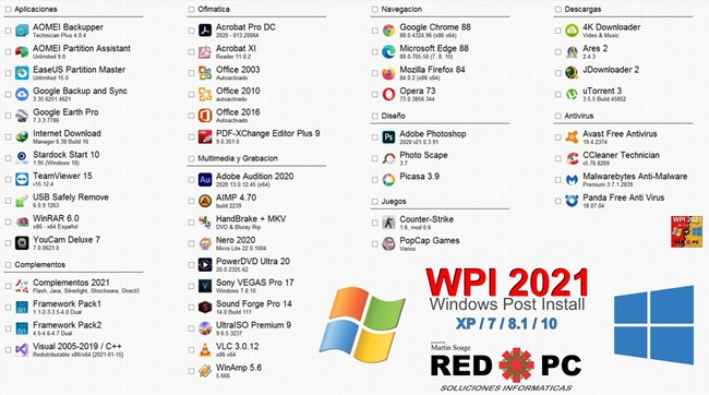 WPI 2021 Windows Post Install full en Español (RED PC)